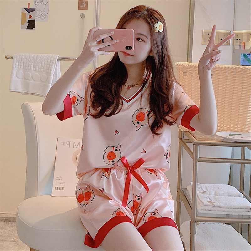 Pajamas Women's Summer Short-sleeved Viscose Two-Piece Set Korean-style Cartoon Cute Pineapple Model Silk Thin Home Wear