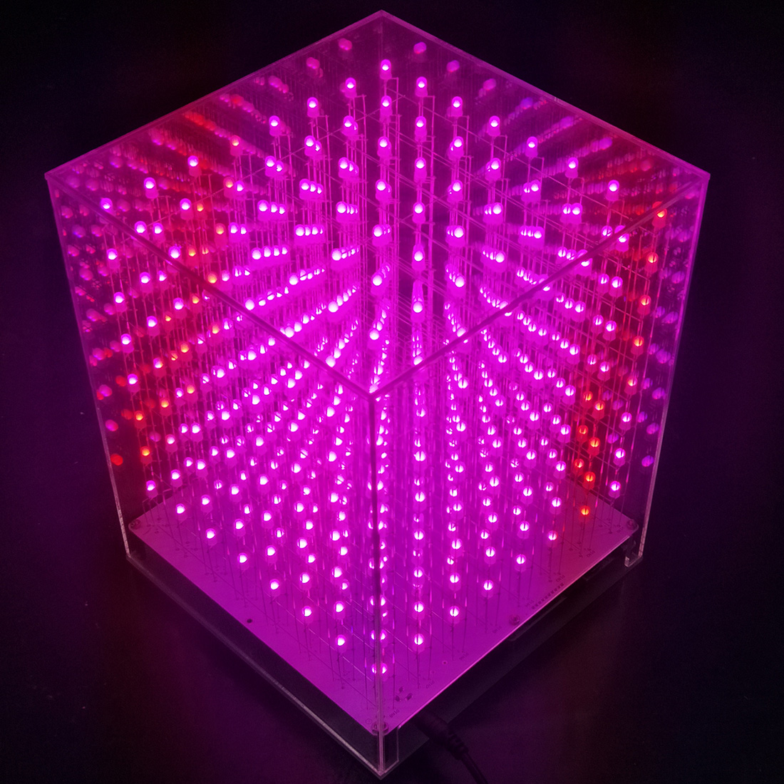 8 X 8 X 8 3D Multicolor LED Light Cube Kit Infrared Remote Control Light Cube Gift For Children Education Toys -Finished Product