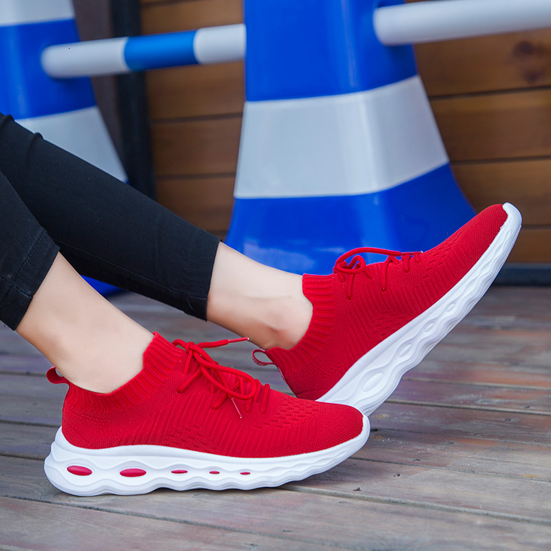 Ladies Flat Shoes Breathable Mesh Knitted Sock Shoes Women Non Slip Wear-resisting Casual Shoes Light Lace Up Vulcanize Shoes