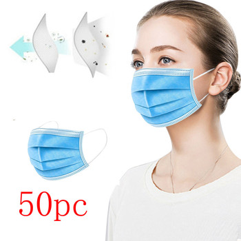 10/20/50pcs Mask Disposable Non-woven 3 Layer Ply Filter Mask Mouth Face Mask Safe Ear Loop Breathable Protective Masks 50pcs 100pcs disposable mask mouth mask non woven three layer mouth mask elastic ear loop disposable dust filter safety mask