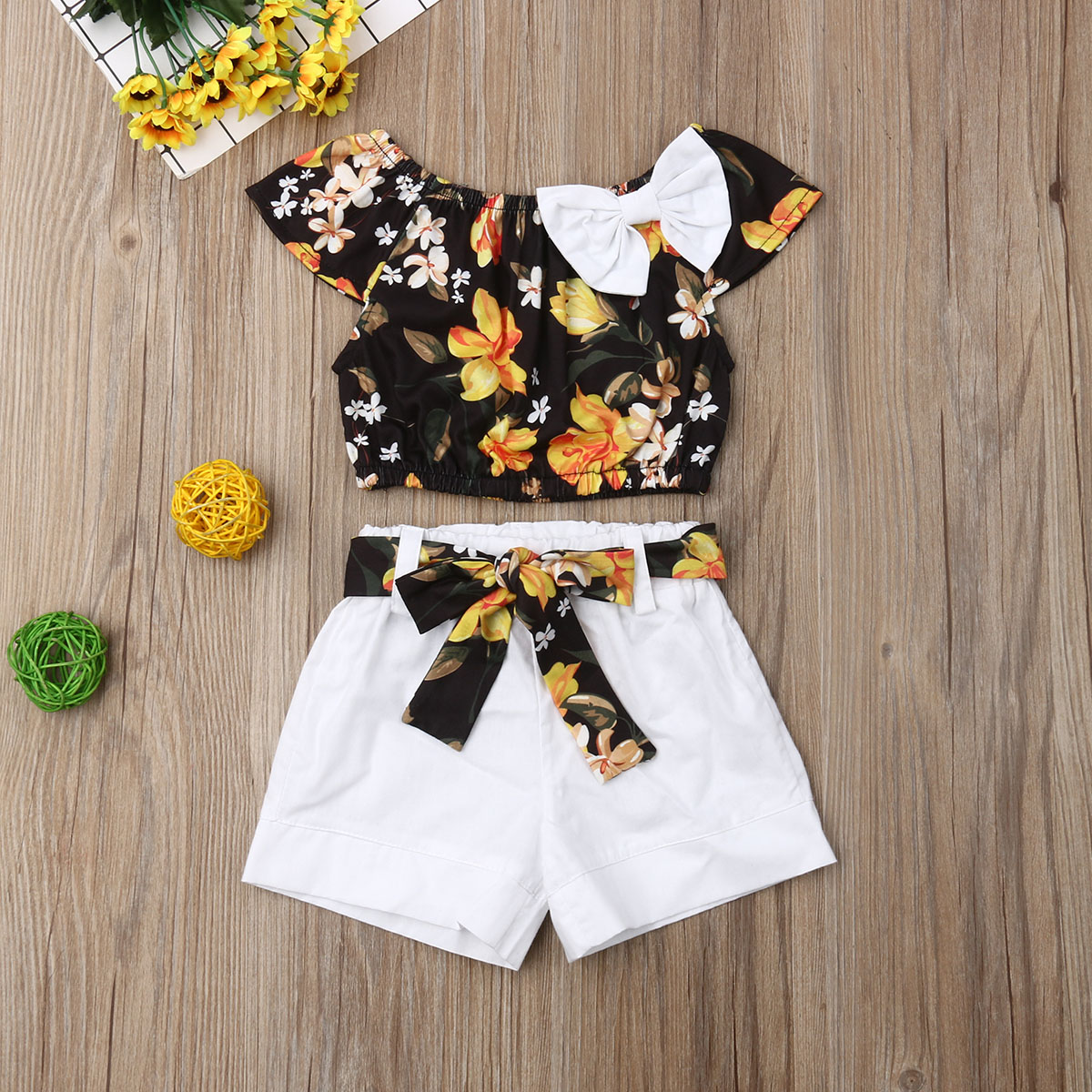 Pudcoco Kids Girls Summer Baby Clothes Sets Floral Toddler Shirt Top White Shorts Outfits Child Casual Girls Clothes