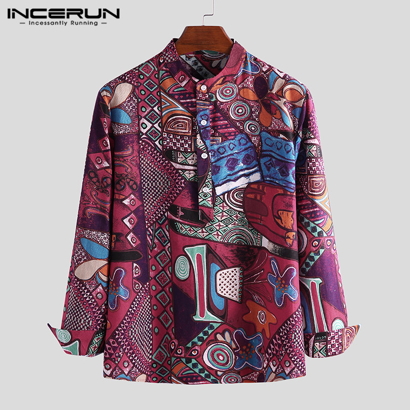 INCERUN Fashion Long Sleeve Printed Shirt Men Casual Stand Collar Breathable Blouse Cotton Streetwear Men Hawaiian Shirt Chemise