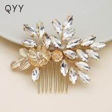 Qyy новейшая мода Стразы Свадебная расческа для волос золотого