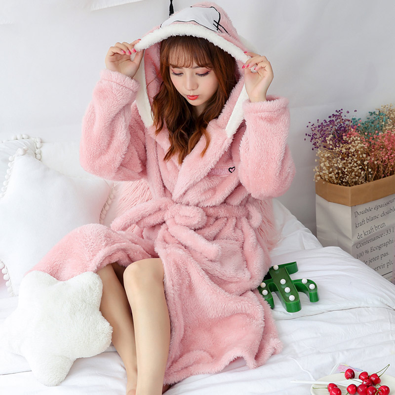 Winter Coral Velvet Thick Bathrobe Women Robe Cartoon Flannel Hooded Kimono Lace Up Nightgown Female 2019 Cute Home Clothes