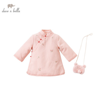 DBJ15559 dave bella winter baby girl's dress with a small bag children fashion party dress kids infant lolita 2pcs clothes image