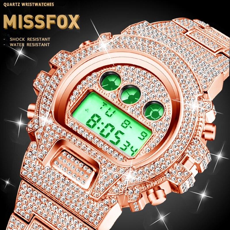 Dropshipping 원래 MISSFOX 세이코 Movt 디지털 시계 남자 골드 방수 럭셔리 시계 빛나는 스포츠 남성 손목 시계 로즈