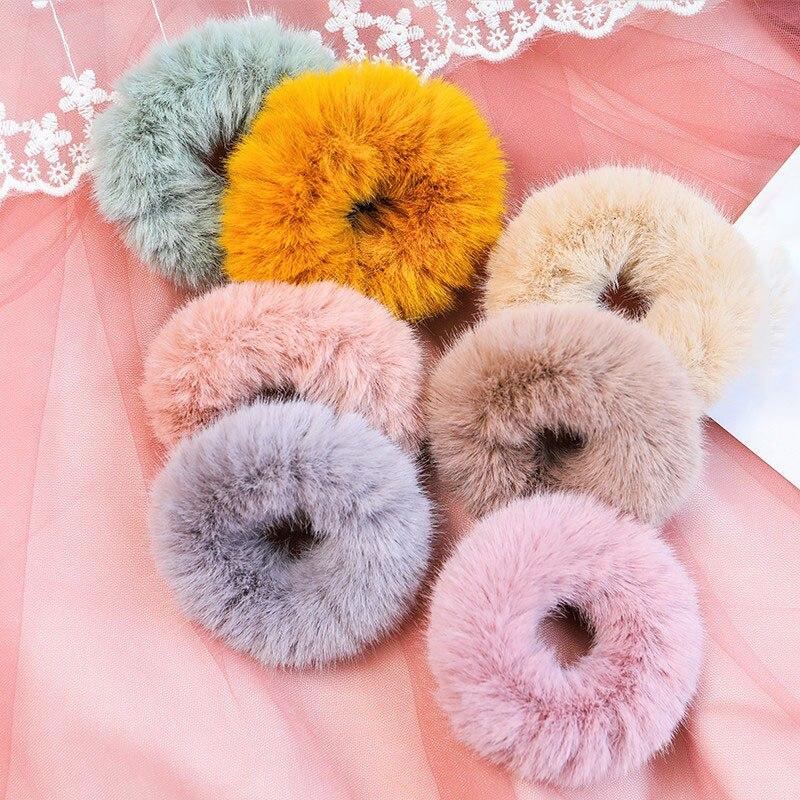 2019 New Mink Fur Hair Rope Scrunchie Women Girls Elastic Hair Rubber Bands Gum Ponytail Holder Hair Accessories