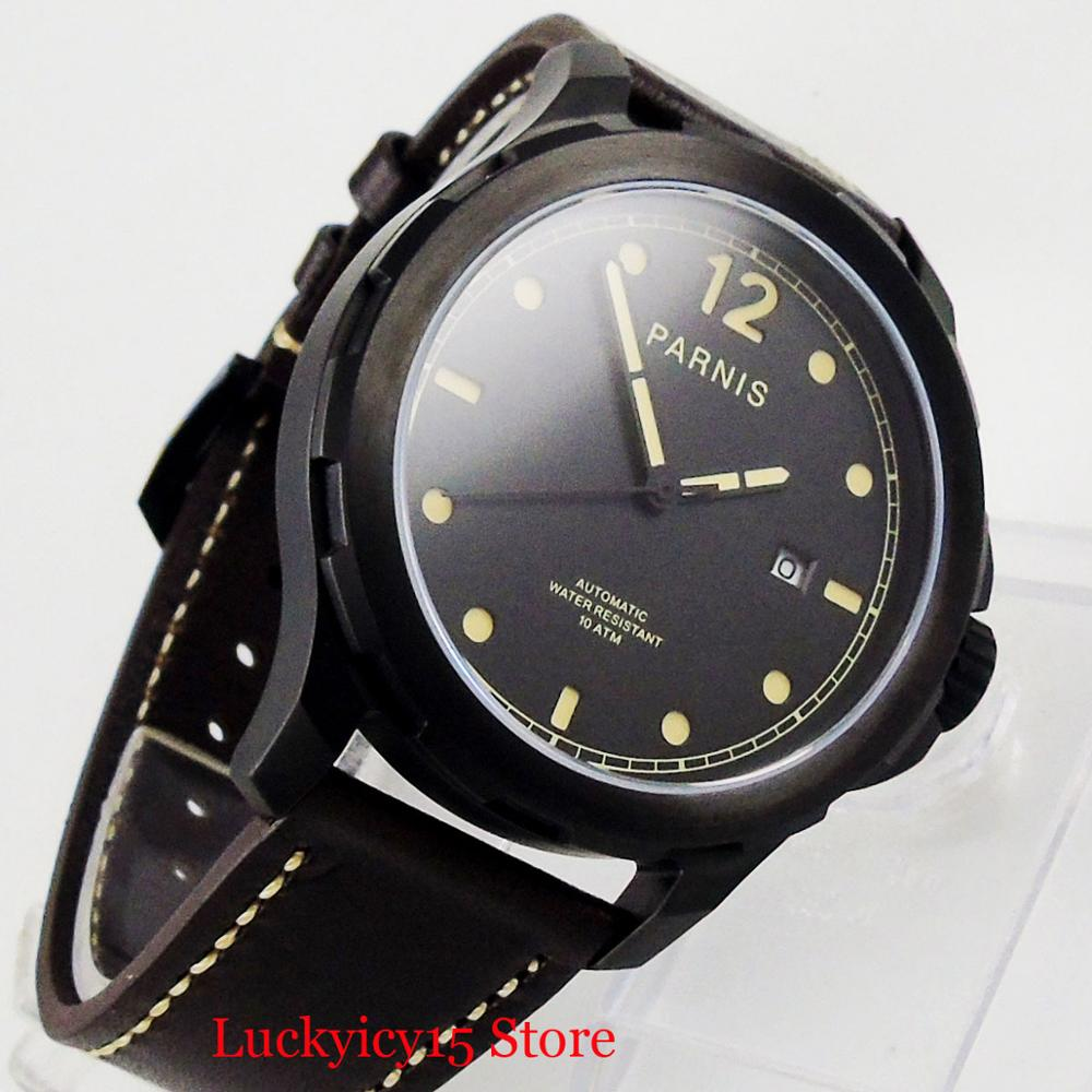 PARNIS Classic PVD Black Men Watches Date Window 44mm Self Winding Wristwatch Sapphire Crystal Automatic Movement