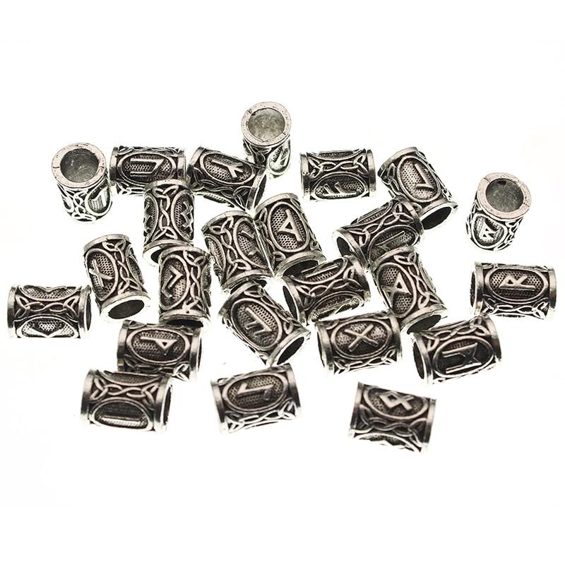 24pcs Vintage Runes Viking Beads, Beard or Hair Bead for Charms Beads Bracelet DIY Handmade Viking Jewelry Norse Dreadlocks(China)