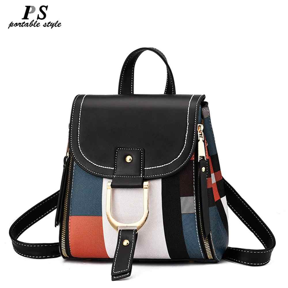 High Quality PU Leather Women Backpack Bag Shoulder School Bag for Girls Teenage Multi-use Daypack Knapsack Hand Bag Crossbody