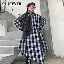 CHICEVER Patchwork Denim Shirt For Women Lapel Collar Long Sleeve Plaid Zipper Hit Color