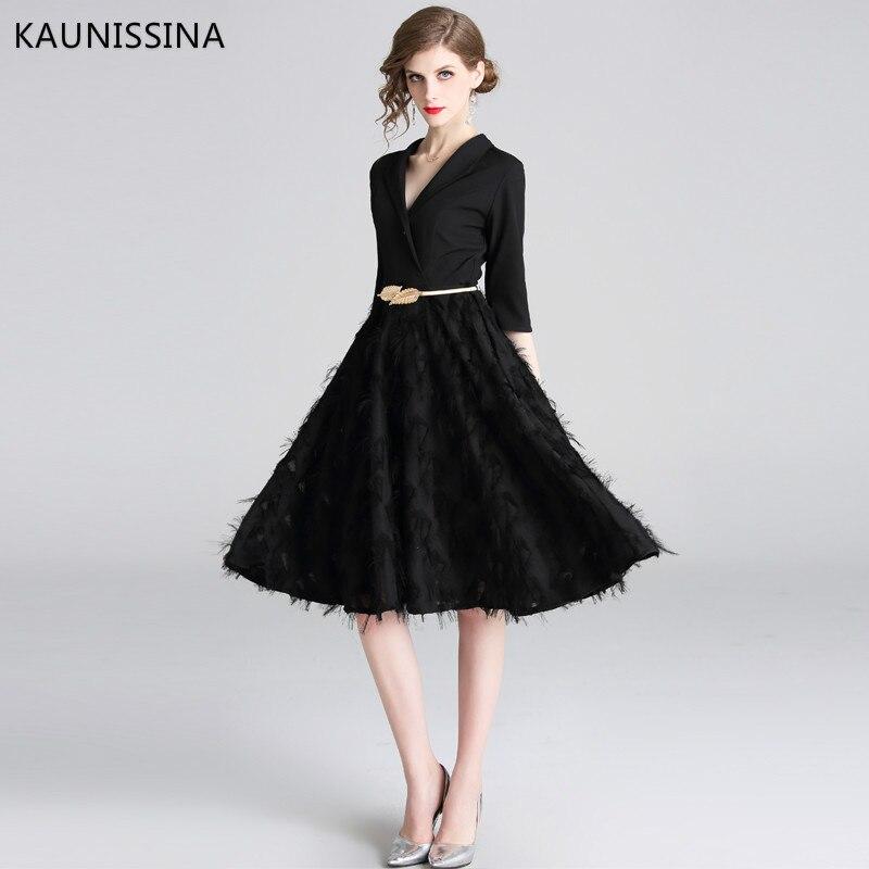 KAUNISSINA Elegant Black Cocktail Dress Half Sleeve V-neck Knee Length Party Gown Homecoming Dress Formal Robe
