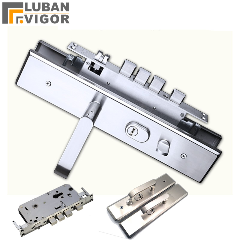 High quality, stainless steel security door lock panel handle and body,silent tongue,lock parts/acce