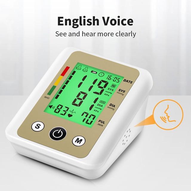 OLIECO Automatic Blood Pressure Monitor Upper Arm Digital BP Tonometer Pulse Gauge Heart Beat Meter English Voice LCD Display