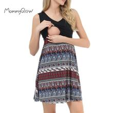 Летние платья для беременных кормящих женщин платье без рукавов пляж печати лоскутное О-образным вырезом свободного покроя грудное вскармливание платье для беременных