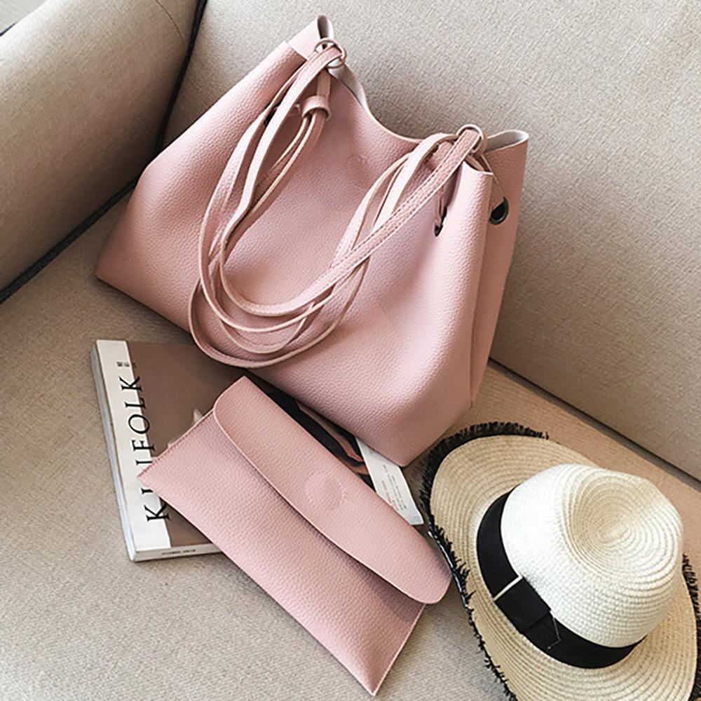 Litchi Pattern Soft Leather 2pc Shoulder Bag For Women Large Capacity Handbag Long Clutch Wallet Ladies Bags #20