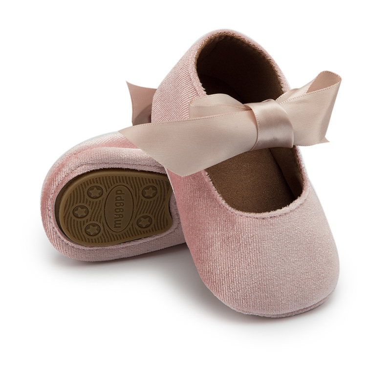Baby Girl Princess Shoes Toddler Non-slip Flat Soft-sole Cotton Rubber Crib Lovely Butterfly-knot Infant First Walkers 0-18m 3
