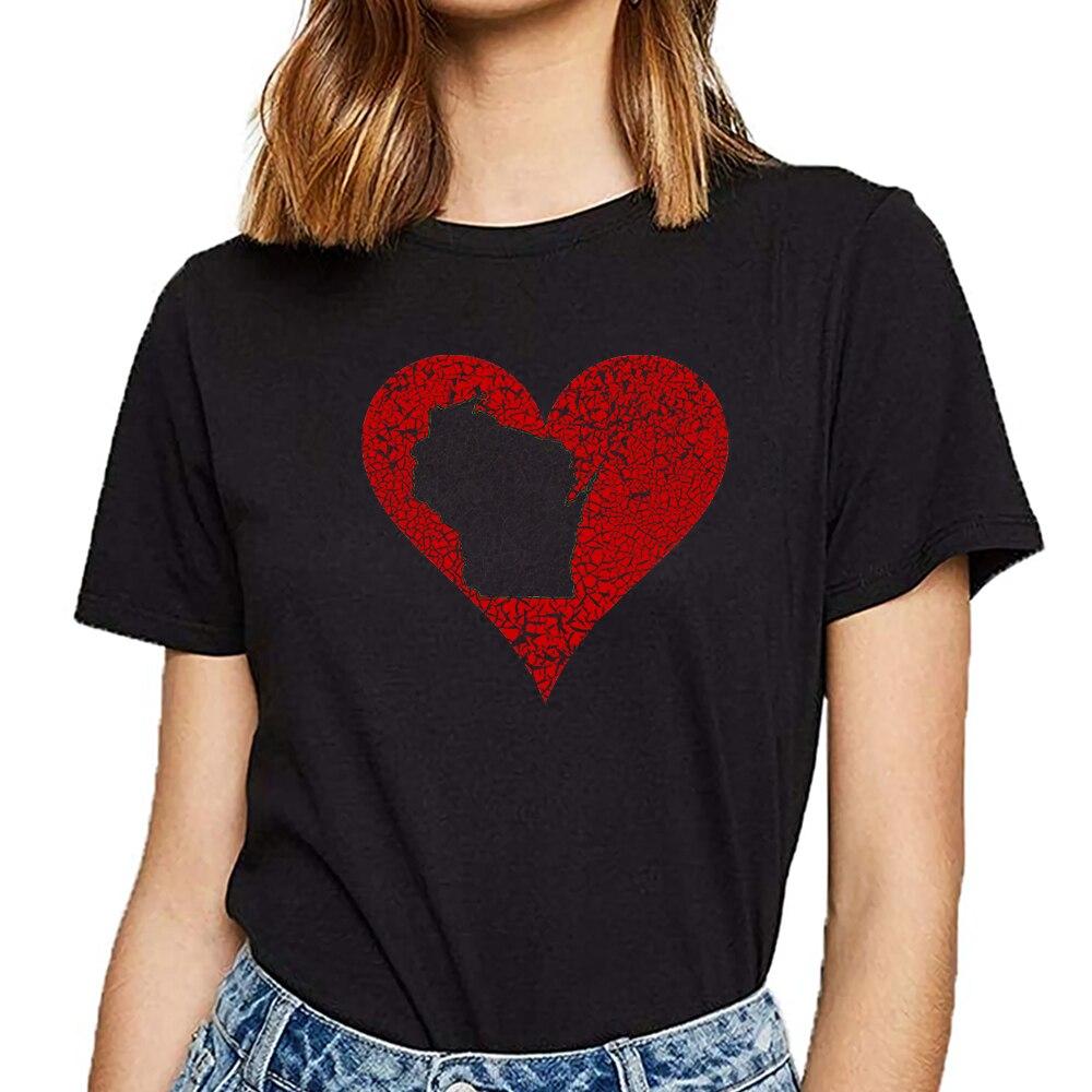 Tops T Shirt Women wisconsin heart milwaukee clothing apparel Design Black Cotton Female Tshirt