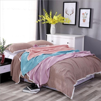 100% Cotton Muslin Blanket 4 Layers Bed Cover Blankets for Beds Sofa Bedspread Sofa Cover Travel Soft Throw Blanket Home Textile home textile sofa air jacquard bedding throw solid color travel bamboo cotton blanket 150 200cm free shipping sp2122