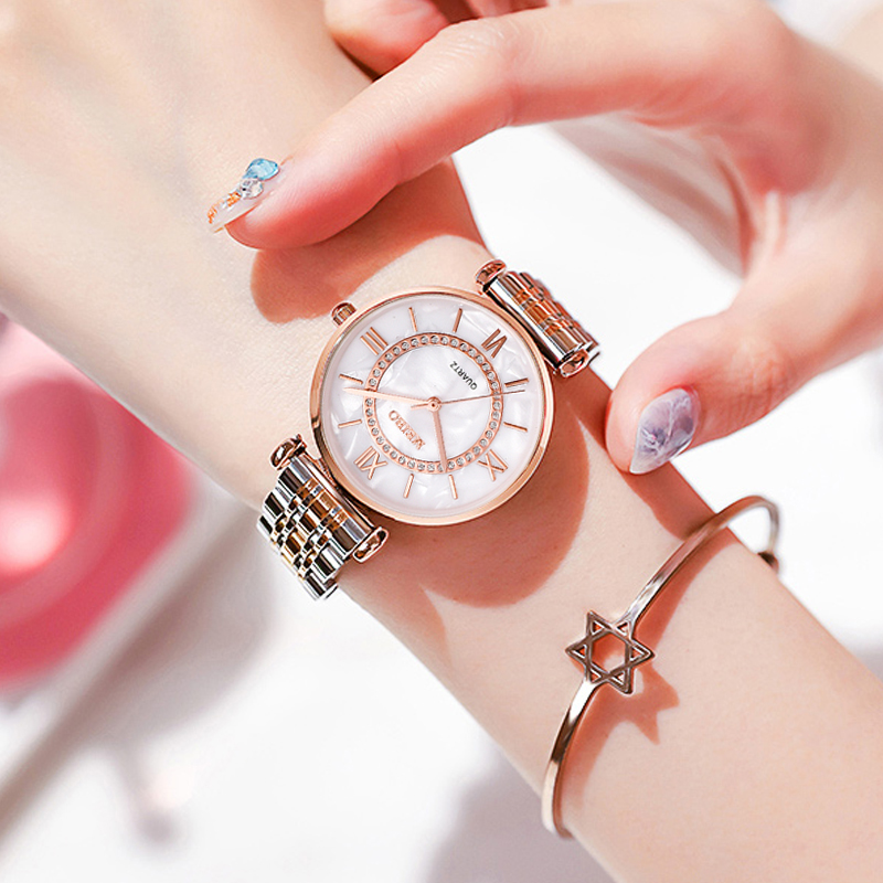 Top Brand Watches Luxury Silver Stainless Steel Brand Bracelet Quartz Clock Lady Business Watch Female Simple Wrist Watch