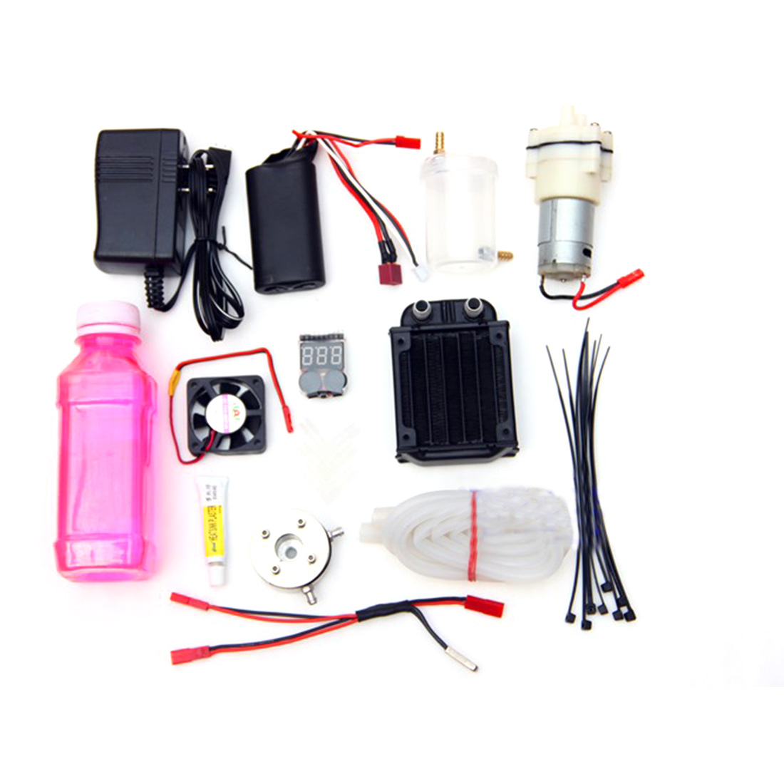 Level 18 Methanol Engine Gas Powered Model Car Water-cooled Cooling Accessories Kit (Only Water Cooling Accessories, No engine)
