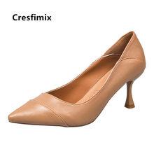 Feminino bonito marrom de alta qualidade couro do plutônio sapatos salto alto senhoras clássico confortável verão bombas salto alto sapatos azuis e9071