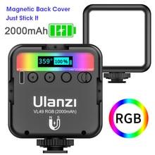 Ulanzi vl49 cor completa mini rgb led luz de vídeo 2500k-9000k magnético mini luz de preenchimento estender 3 sapata fria 2000mah
