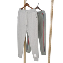 2021 TB THOM men's long sweatpants with Tri-color webbing cotton casual Jogging pants men fashion trousers male