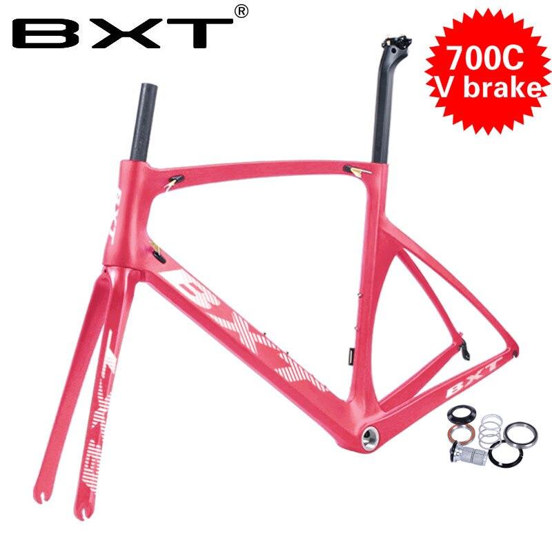 Newest China Made Carbon Frame V Brake Road Bike T800 UD Carbon Bicycle Frameset Carbon Frameset+Seatpost+Fork+Clamp+Headset