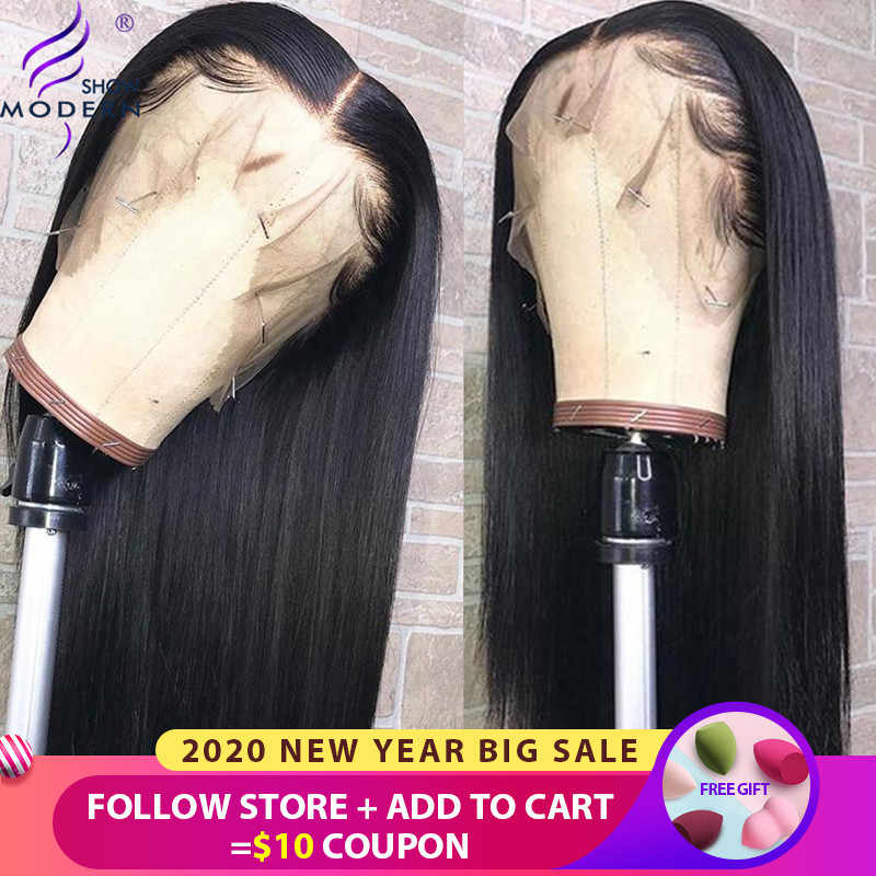 Modern Show Human Hair 13*6 Transparent Lace Straight Wigs Malaysian High Radio Remy Hair 13*4 Lace Front Wigs 150% Density