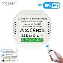 Wifi 스마트 라이트 스위치 Diy 차단기 모듈 Smart Life/Tuya APP 원격 제어, Alexa Echo Google 홈 2 Gang 2 Way.