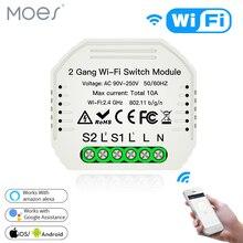 Wifi commutateur de lumière intelligente Module de disjoncteur bricolage vie intelligente/Tuya APP télécommande, fonctionnant avec Alexa Echo Google Home 2 Gang 2 voies.
