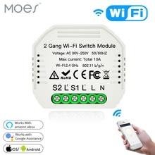 Wifiスマートライトスイッチdiyブレーカモジュールスマートライフ/チュウヤappリモコン、での作業alexaエコーgoogleホーム2ギャング2ウェイ。