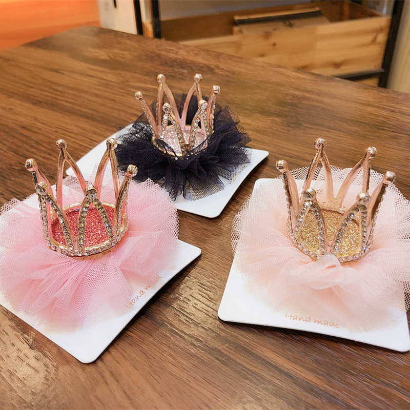 Korean Children's Hairpin Headdress Girl Princess Mesh Head Flower Stereo Crown Rhinestones Hair Clip Birthday Gifts Accessories