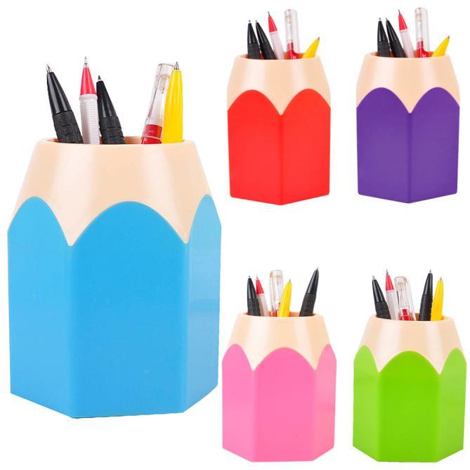 Auf Lager! Bleistift Stil Stift halter schreibtisch veranstalter student schreibwaren PE Bleistift behälter pinsel topf büro zubehör