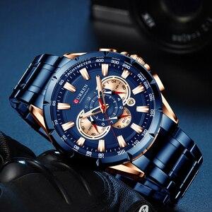 Image 2 - Curren marca de luxo relógio masculino azul quartzo relógio de pulso esportes cronógrafo relógio masculino banda aço inoxidável moda negócios