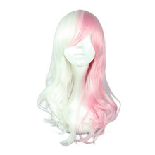 Anime Danganronpa Monomi Wig Cosplay Kostum Wanita Long Curly Putih Pink Mix Rambut Sintetis Dangan Ronpa Pesta Halloween Wig(China)