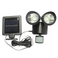 Lámparas solares para pared Con Sensor de movimiento PIR, 22led, reflector de seguridad de doble cabeza para exteriores, luz Solar para patio de jardín