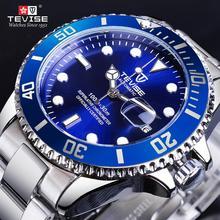 цена на TEVISE Blue Ocean Dial Calenar Display Sport Stainless Steel Mens Automatic Mechanical Wrist Watch Top Brand Luxury Reloj hombre