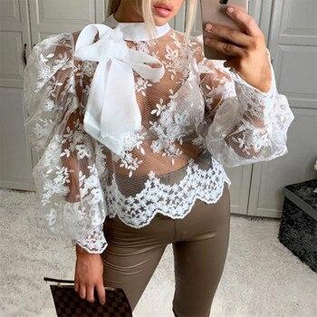 Blusas florales de encaje para mujer, blusas transparentes de mangas largas de farol con lazo en el cuello, tops, ropa de mujer, blusa informal suelta transparente para otoño