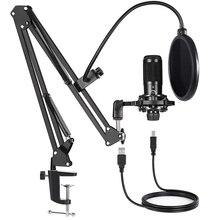 Kit de Microphone à condensateur USB, avec support de bras à ciseaux réglable, pour PC, YouTube, flux de jeux vidéo, Studio T669