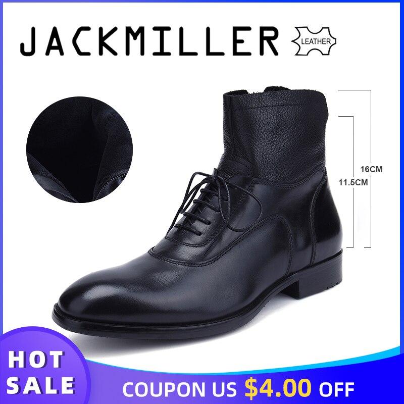 Ayakk.'ten Basic Çizmeler'de Jackmiller Üst Marka erkek Botlar Ayak Bileği Alçak Topuk Iş Parti Boot Temel Elbise Çizmeler Erkekler için Hakiki Deri Katı siyah ve Kahverengi'da  Grup 1