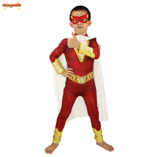 Shazam Costumes kids Halloween Costume Cloak Zentai Billy Batson Cosplay Costumes Boys Superhero Jumpsuits Zentai Fancy Dress
