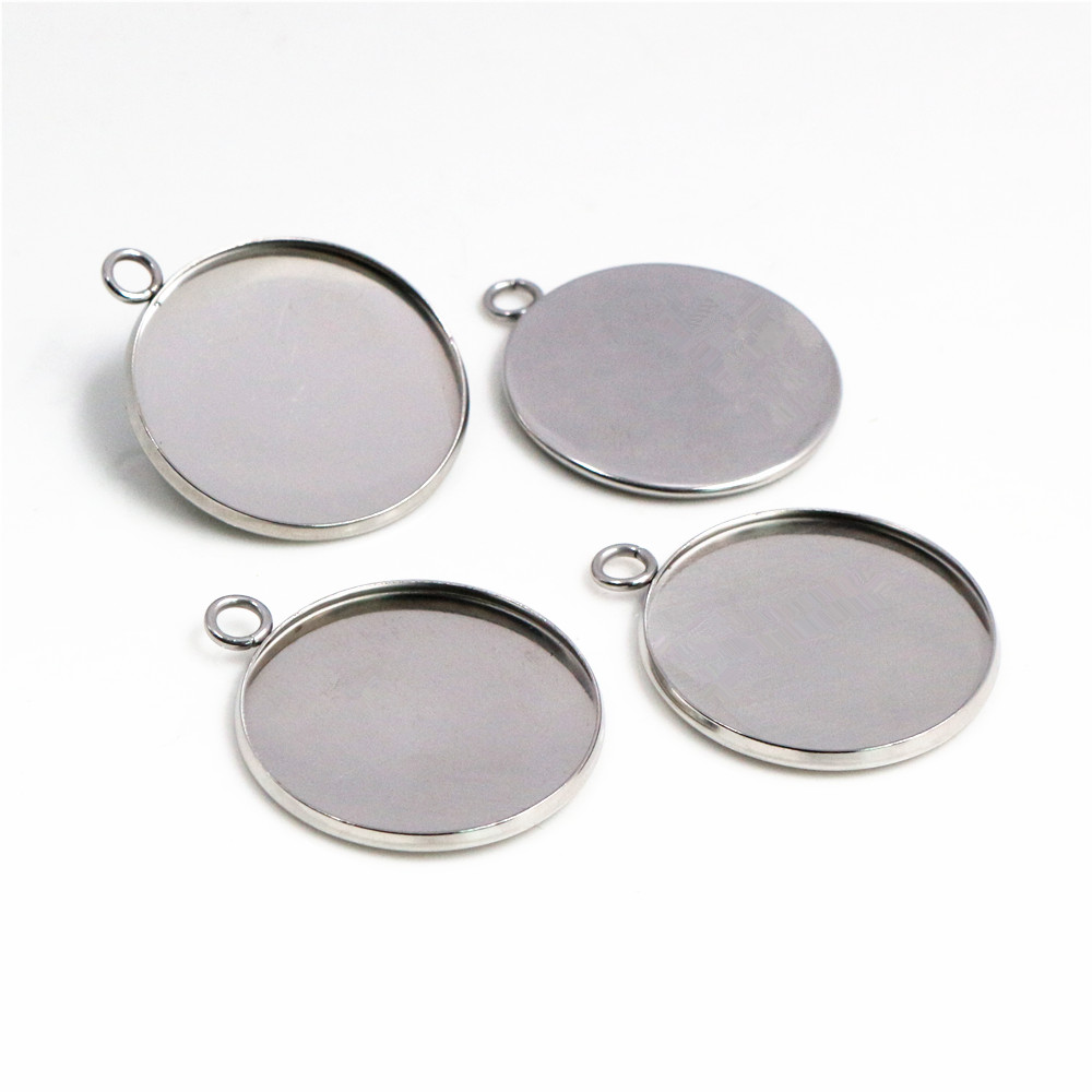 ( No Fade ) 10pcs 25mm Inner Size Stainless Steel Material Simple Style Cabochon Base Cameo Setting Charms Pendant Tray-T6-45
