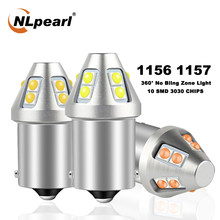 Nlpearl 2x lâmpada de sinal 1156 ba15s p21w lâmpada led bau15s py21w 3030sdm 1157 bay15d led p21/5w carro sinal de volta luz freio lâmpada 12v
