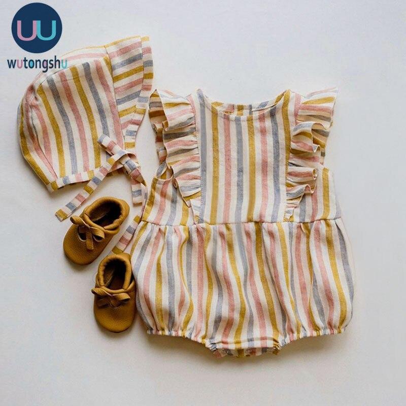 Комбинезоны для маленьких девочек, летняя одежда для новорожденных, штаны, шапки, хлопково Льняная однотонная полосатая одежда для маленьких девочек 0 24 мес.|Ромперы| | АлиЭкспресс