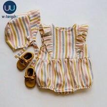 Baby Mädchen Strampler Sommer Neugeborenen Baby Kleidung Baumwolle Leinen Einfarbig Streifen Baby Mädchen Kleidung Für 0-24M