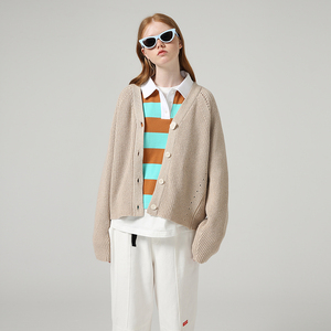 Image 4 - Toyouth 게으른 스타일 여성 중공업 긴 소매 스웨터 느슨한 솔리드 싱글 브레스트 v 넥 스웨터