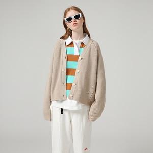 Image 4 - Женский однобортный свитер с V образным вырезом и длинным рукавом