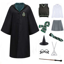 Slytherin Cosplay Clothes Kids Halloween Cloak Hoodies Ties Magic School Uniforms Party Cosplay Costume Clothing Accessories
